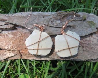 White pottery shard dangle earrings