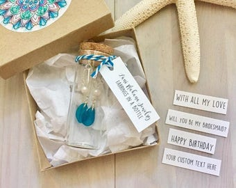 Jewelry In A Bottle - Message In A Bottle - Beach Gift Set - Personalized Birthday Gift - Beach Bridesmaid Gift - Beach Wedding Gift