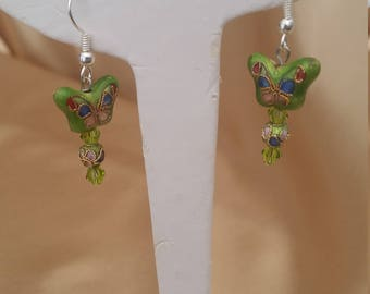 Hand made cloisonne ear-rings