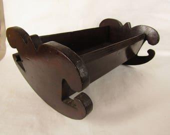 Vintage handmade wood doll cradle