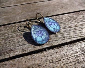 Drop earrings * blue and purple Prism * effect enamel