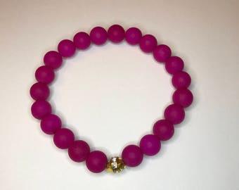 Matte Pink Beaded Stretch Bracelet Closeout Sale