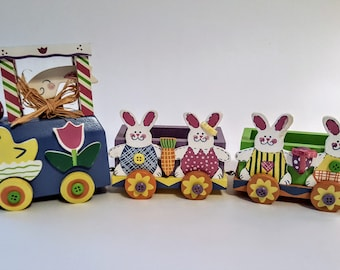 Easter Bunny Choo-Choo Train 3 Articulated Pieces Colorfully Painted Wood Wheels Turn 1990s