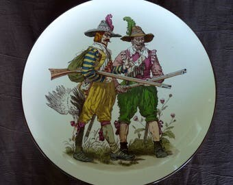 "Antique German - Two Figural  HUNTERS (Men) - 12"" Wall Hanging CHARGER in the manner of Villeroy & Boch #1044 - Pattern #104 Germany"