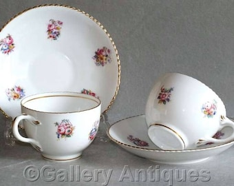 Antique vintage Pair of Porcelain Handpainted Rose Floral Decorated Cabinet Cups and Saucers crimped gold rims c.1920's (GY220808)