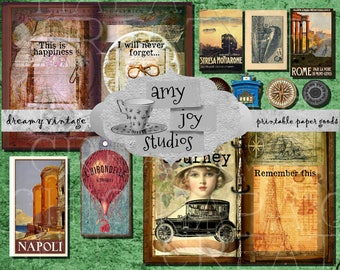 TRAVEL Journal  Vintage  Printable Journal  Ephemera Pack  junk journal kit  DIY journal  mini album  nautical  writing  journal pages