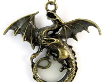 Dragon Fire with Glow in the Dark Fire Pendant on 26 in Chain