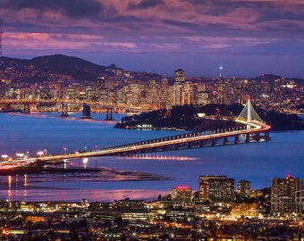 San Francisco Print, California Photography, Skyline New Bay Bridge Photo, Holiday Lights Canvas, Bridge Photo, Large Canvas, Wall Art