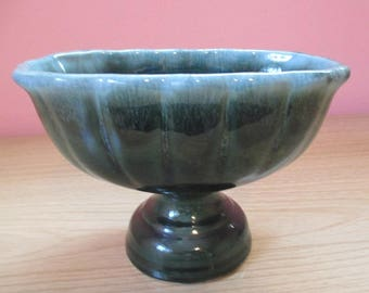 Beautiful Hull pottery F22 urn styled vase or planter or candy dish, drip glaze in greens
