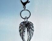 Bling Gray Metal Angel Wings w/ AB Iridescent Rhinestones Key Chain Purse Charm