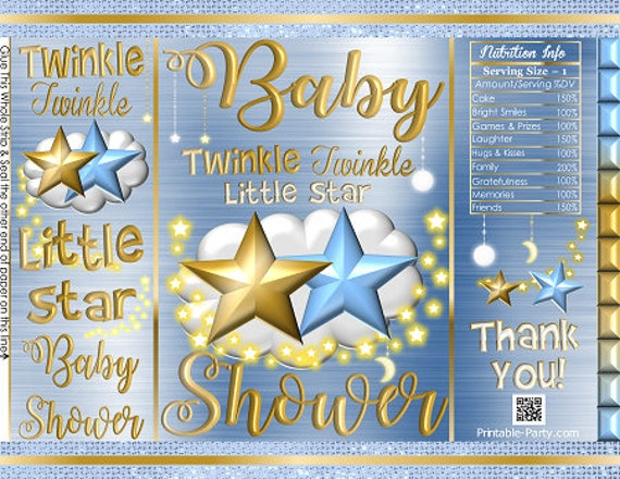 photo regarding Printable Chip Bags referred to as Printable Potato Chip Baggage Blue Gold Twinkle Twinkle