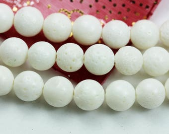 "Natural 10mm White Coral Beads, One full strand, Round shape Gemstone, hole 1mm,16""-GEM1495"