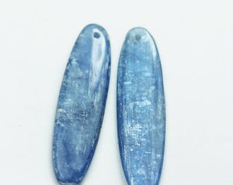 kyanite, One pair 33* 8mm Oval Natural Gemstone Beads,Earring making drop, 3mm thick,hole1mm -GEM0673