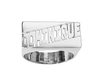 SNS34 10mm Size Silver Plain Finished Rectangle Name Ring