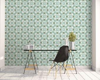 Geometric wallpaper, Teal wall art, Wall decor, Modernist art, Barcelona, Office decor, Office wall art, Green, Circles, Decal. SP032
