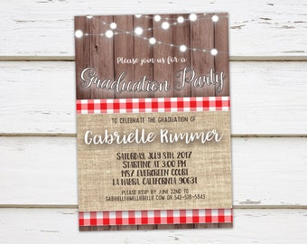Printable Graduation Party Invitation, Class of 2017, Highschool Graduate, College graduate, Degree, BBQ, Barbecue, Commencement, MB021