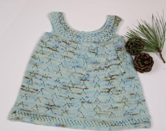 Baby knit dress, infant wool jumper, blue knit dress, 9-12 mo baby knits, baby girl clothing, fall and winter dress