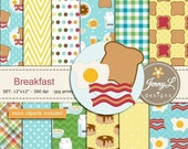 50% OFF Breakfast Digital papers and Clipart SET, American Food, Coffee, Waffle, Milk, Bacon, Egg for Birthday, Digital Scrapbooking, Planne