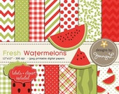 50% OFF Watermelons Digital Papers and Clipart, Summer Picnic Fruit Theme, Pool Party Red and Green Scrapbooking Papers, Birthday