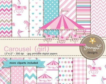 50% OFF Carousel Digital Paper, Pink Girl Horse, Carnival Clipart, Merry Go Round Baby Shower, Birthday, Wedding for Invitations, Scrapbooki