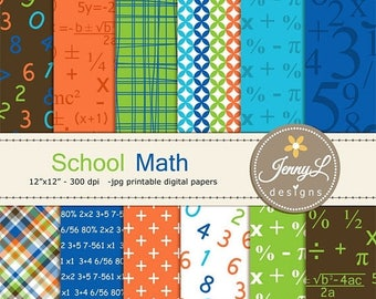 50% OFF Math Digital Papers, School, Numbers, Formula for Digital Scrapbooking, invitations, Planner