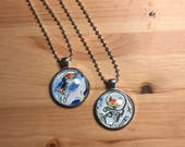 Art Necklace - Cats in Meowterspace Pair