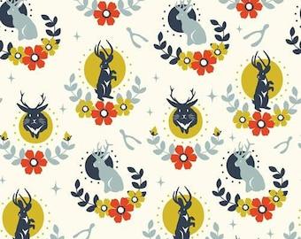 Tall Tales Jackalope Cream- Birch Fabric Organic Cotton Double Gauze- UK Seller