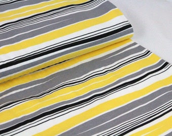 Organic Cotton Jersey Fabric | Paapii | Waves Grey and Yellow