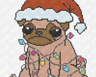 Christmas Pug Dog - Lights -  Counted Cross Stitch PDF Pattern - Instant Download