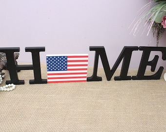 4th Of July Decor, Home Wooden Letters, American Flag, Interchangeable O Insert, Independence Day, Seasonal Home Decor, Housewarming Gift