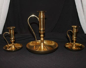 Set  of 3 Vintage Brass Candlestick Holders made in India