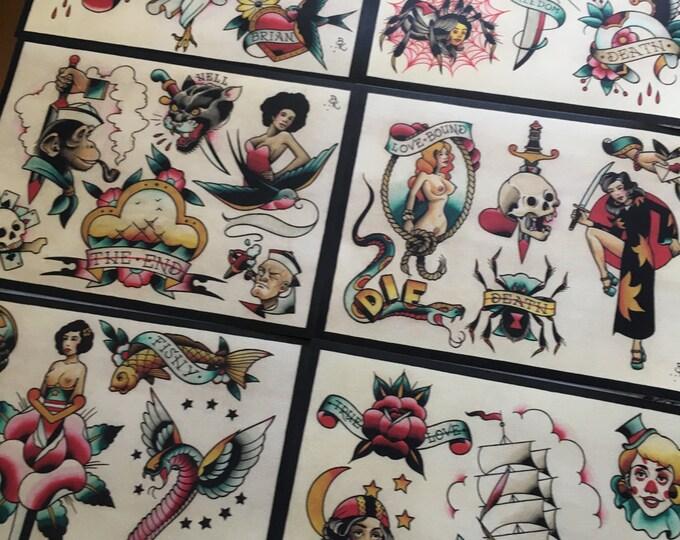 Tattoo Flash Set 16 by Brian Kelly.  6 sheets.