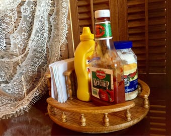 lazy susan wooden tray serving swivel kitchen counter storage organizer tabletop rack condiment holder breakfast table