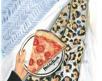 Feed me pizza wall art,Chic Fashion illustration,Pizza art,Pizza wall art,Fashion Poster