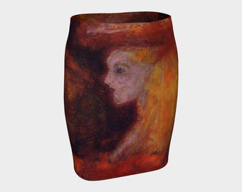 Lady in Red Abstract Red Yellow Brown Art A-Line Skirt XS-S-M-L-XL Elegant Pencil Skirt Evening Wear Wearable Art Clothes Women Teen Fashion