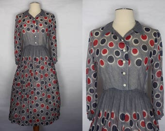 Vintage 1940s Red Blue Polka dot sheer dress, xs 1940s dress, 1940s day dress, 1940s dress, 1940s polka dot dress, vintage 40s xs dress