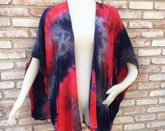 Kimono Wrap, Scarf Shawl, Kimonos, Beach Cover, Swim Cover up, Red Blue Mermaid, Tie Dye Kimono, Bohemian, Yoga Wrap, Kimono Cardigan, Beach