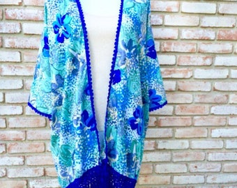 Bohemian Blue, Boho Kimono, Kimono Cardigan, Fringed Kimono, Beachwear Swim Cover, Mother of the Bride, Mother's Day, Kimonos, Kimono Duster