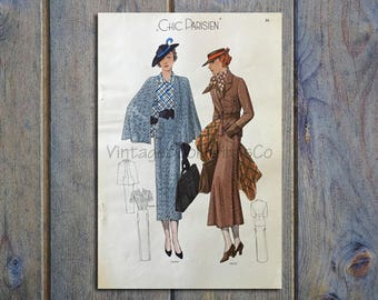 1935 Chic Parisien Hand Colored Print #7956