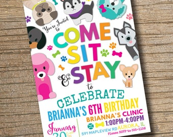 PRINTABLE Puppy Party Invitation, Pet Adoption Birthday Invitations, Puppy Birthday Party, Puppy Adoption Party Digital Invite (Printable)