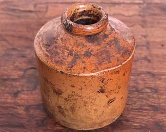 Small Brown Terracotta Inkpot