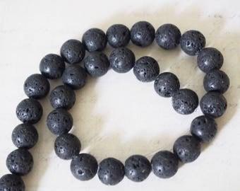 5 round 10mm black lava stone beads