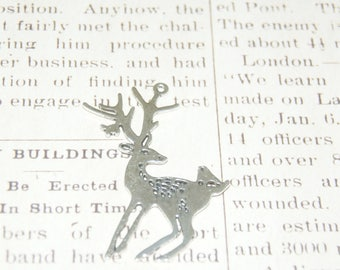 Large deer and bird silver 60 charm 5x48mm