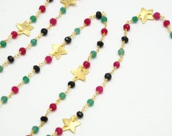 20cm of chain chain Rosary with stars, multicolored tourmaline beads and 24K Gold wire