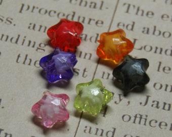 6 star beads 11mm acrylic