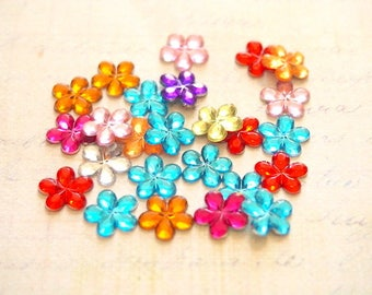 10 rhinestone flowers to paste for scrapbooking or jewelry 10mm