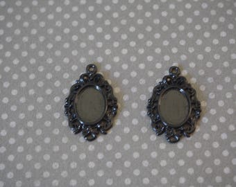 2 charms 30x19mm cabochon oval and black Medallion