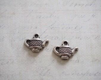 2 15x13mm metal teapot charms