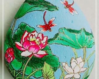 Hand painted Stone painting Beautiful lotus flowers
