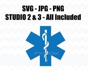 EMT Symbol SVG File - Medical Paramedic Symbol - Svg Jpg Png - Cameo Silhouette Studio V3 V2 - Cricut - Instant Download - Paramedic Symbol